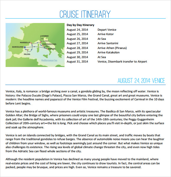 Sample Cruise Itinerary   Documents In Pdf Word