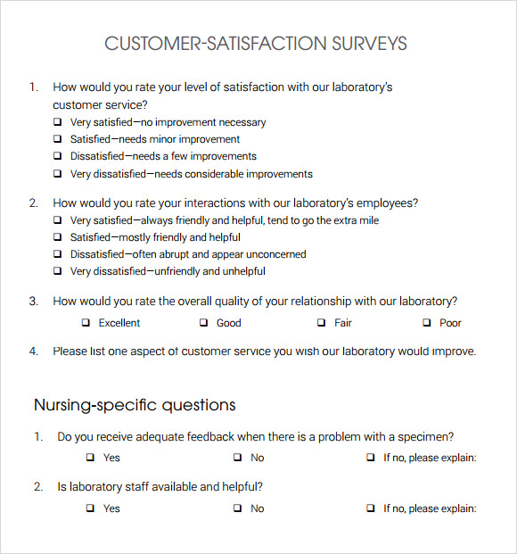 Customer Satisfaction Survey 7 Download Free Documents in PDF Word – Free Questionnaire Template Word