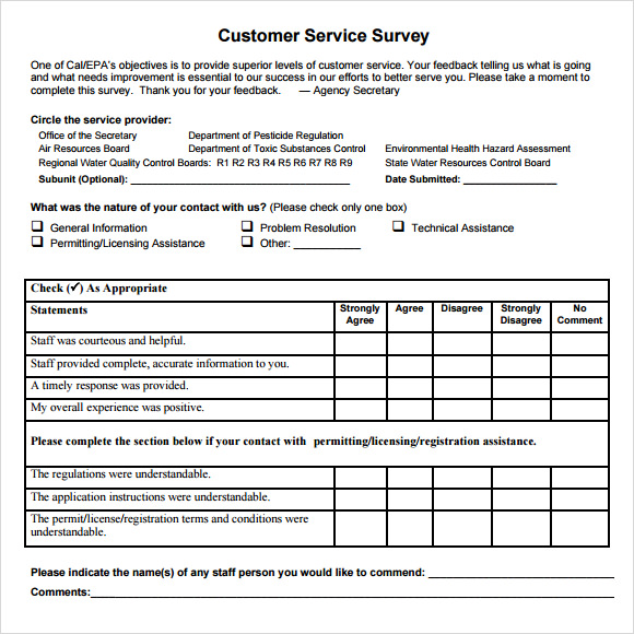 Sample Customer Survey Customer Satisfaction Survey Sample