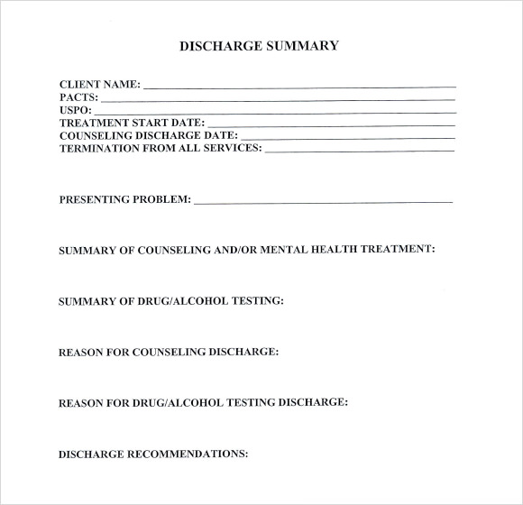 8  sample discharge summary templates