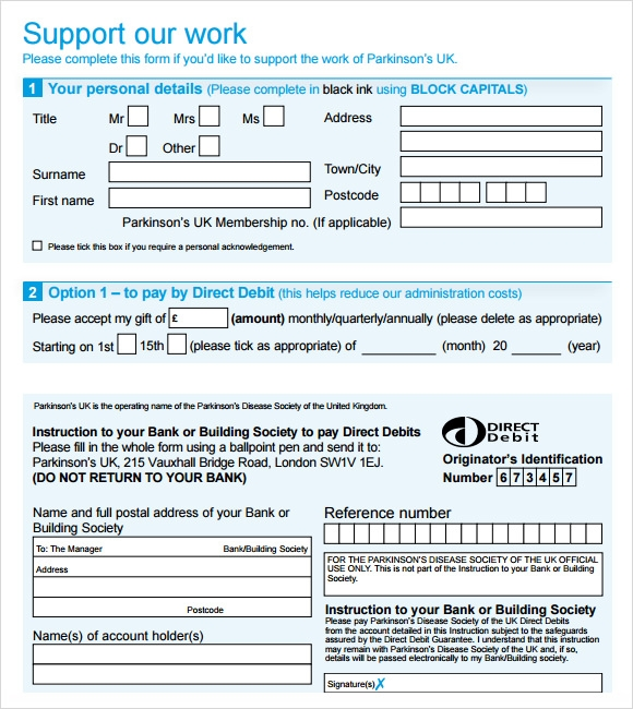 Sample Donation Sheet   Documents In Word Pdf