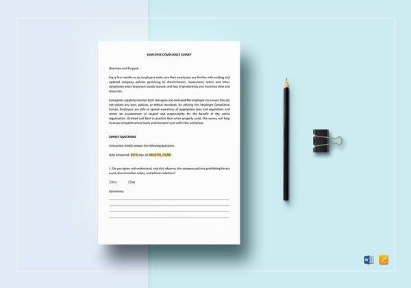 easy to print employee compliance survey template