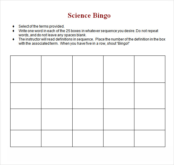 Blank Bingo Card Template Microsoft Word  Template Design