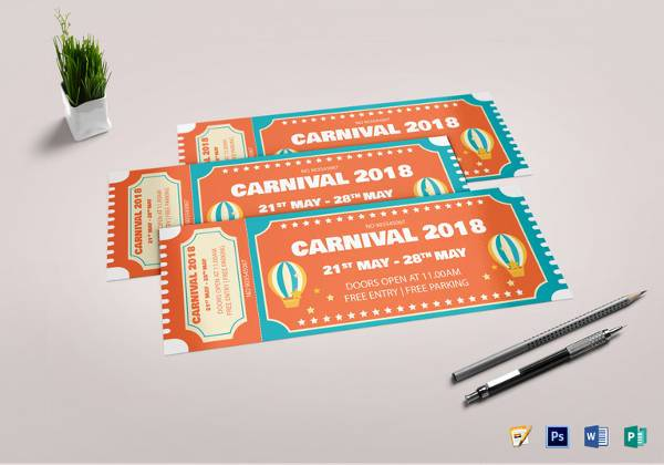 editable carnival event ticket template