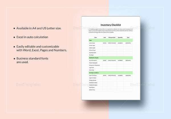 editable inventory checklist template download