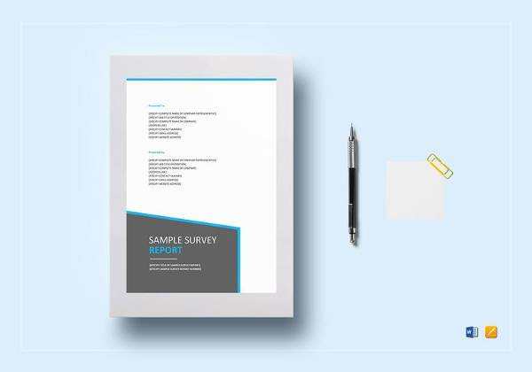 editable survey report template in word