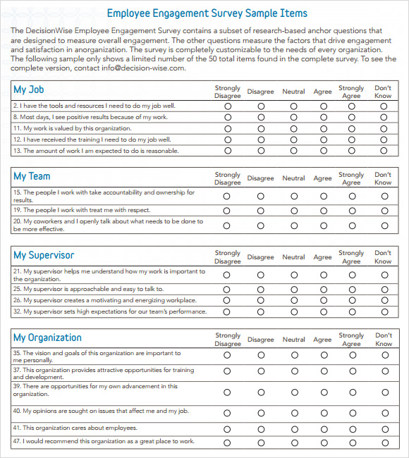 Survey Example Template. Employee Engagement Survey Example