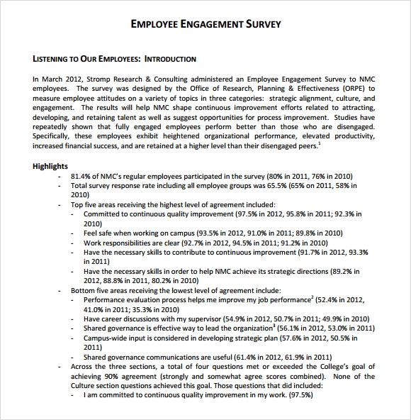 Employee Engagement Survey 7 Download Free Documents in PDF Word – Employee Engagement Survey Template