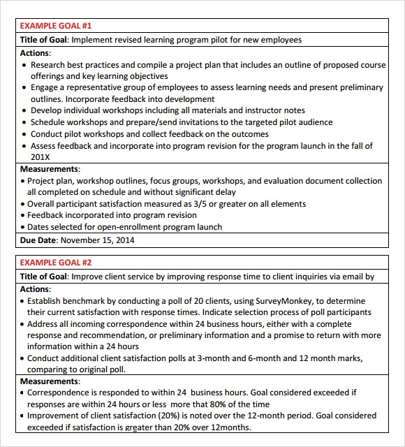 Employee-Goal-Setting-Template Sample Employee Performance Goals Examples on evaluation form, appraisal wording example, write up, appreciation letter, business perspective, write up template,