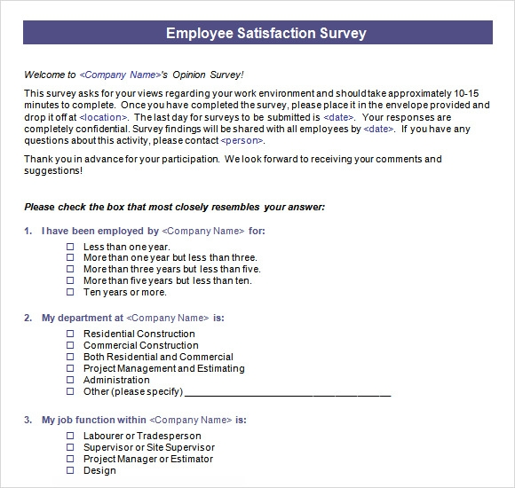 Employee Satisfaction Survey 8 Download Free Documents in PDF – Free Questionnaire Template Word