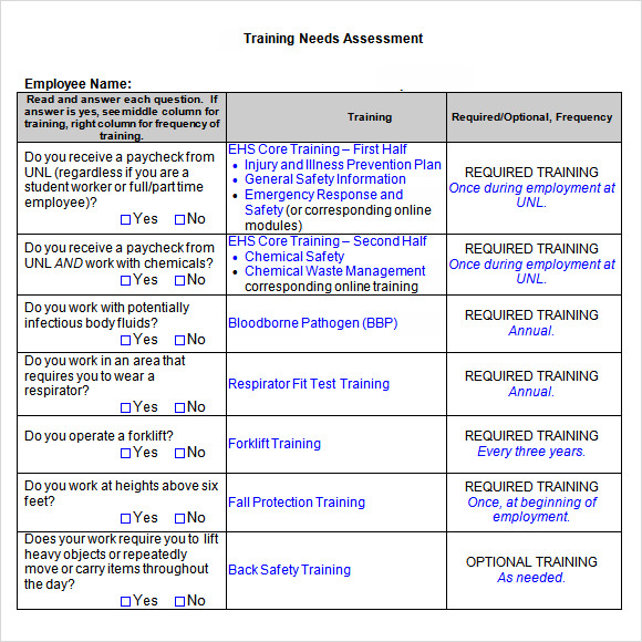 Employee Training Needs Assessment Template Word
