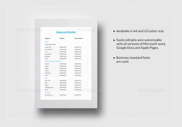 equipment checklist template
