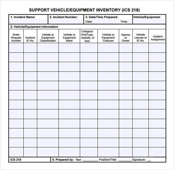 Sample Equipment Inventory Template   Free Download Documents In
