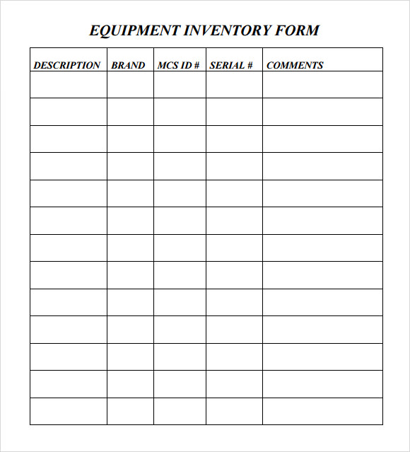 Sample Equipment Inventory Template 9 Free Download Documents – Blank Inventory Template