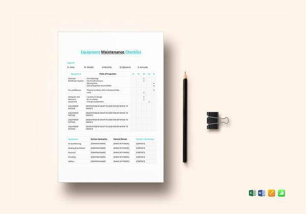 equipment maintenance checklist template1