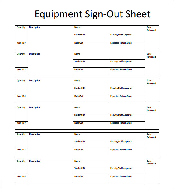 13+ Sign Out Sheet Templates – PDF, Word, Excel | Sample Templates