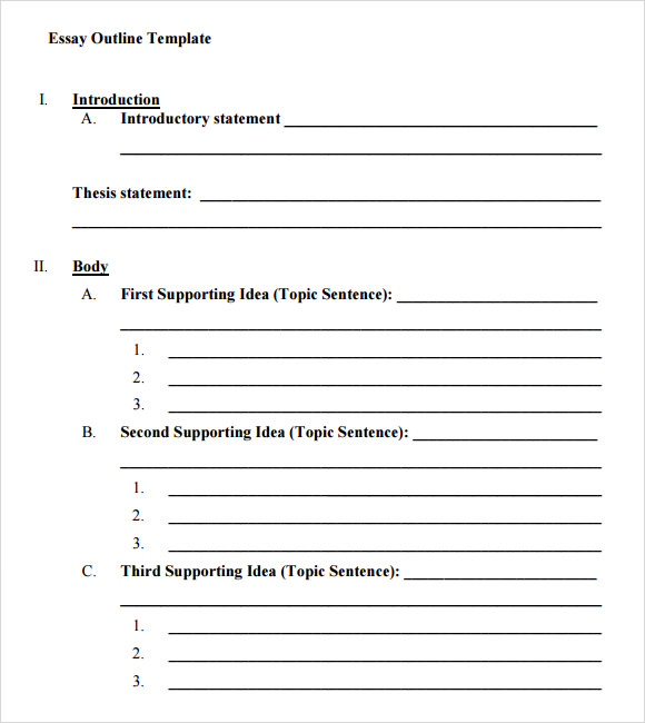 Essay Outline Template   9  Download Free Documents in PDF Word ETmLAzy9