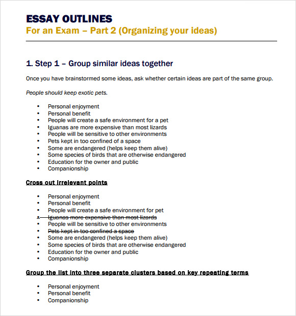 MLA Format Sample Paper Outline