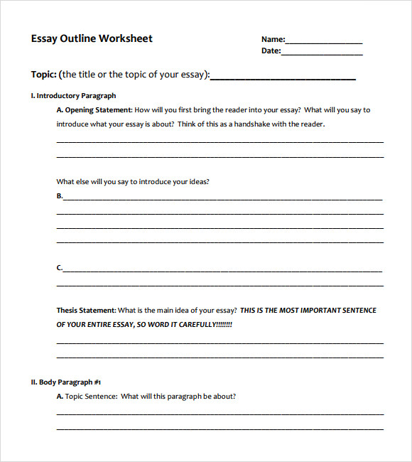 essay outline blank form