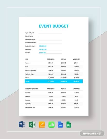 13  event budget templates in google docs