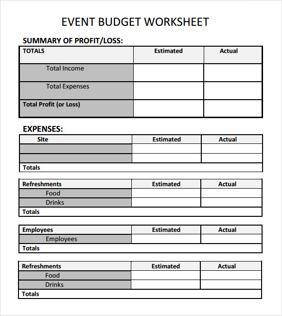 Sample Event Budget Template 6 Free Documents Download in Word PDF – Budget Worksheet Template