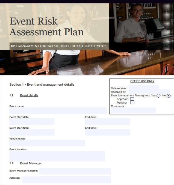 event risk assessment plan template