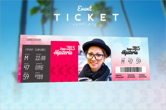 Sample Amazing Event Ticket Templates To Download Sample Templates - Event ticket template photoshop