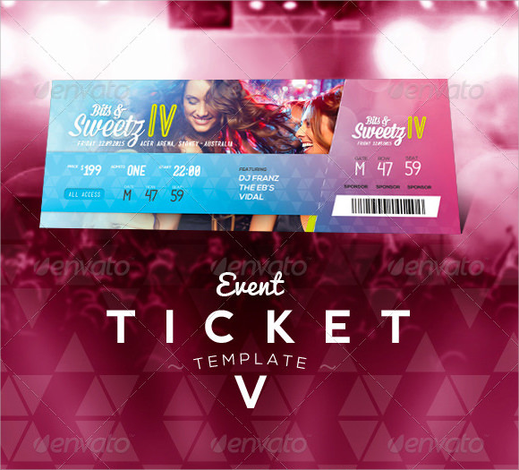Event Ticket Template 7 Premium and Free Download for PDF Word – Sample Ticket Template
