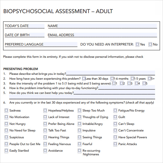 Sample Biopsychosocial Assessment   Documents In Pdf