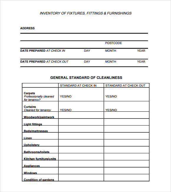 Landlord inventory template 7 download free documents in for Inventory for rental property template