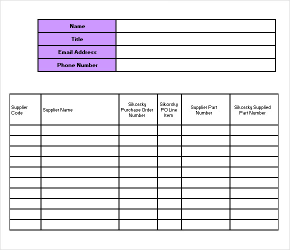 Sample Supply Inventory Template   Free Documents Download In