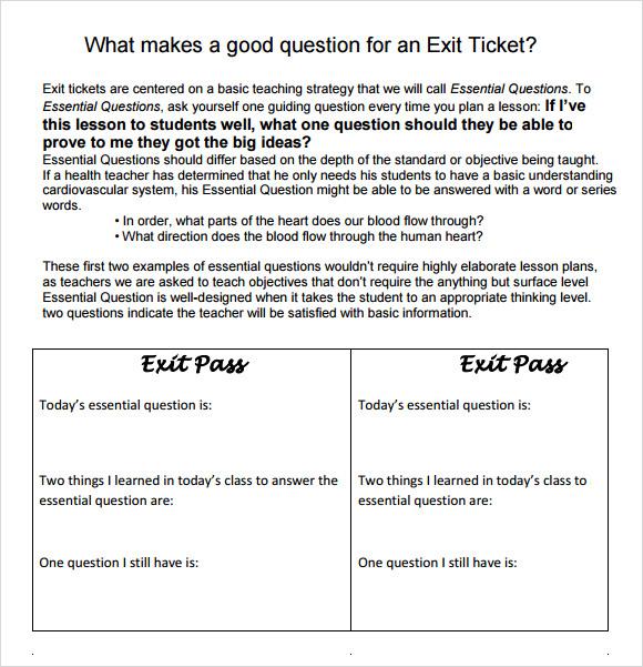 11 Sample Exit Ticket Templates Pdf Psd Word Illustrator