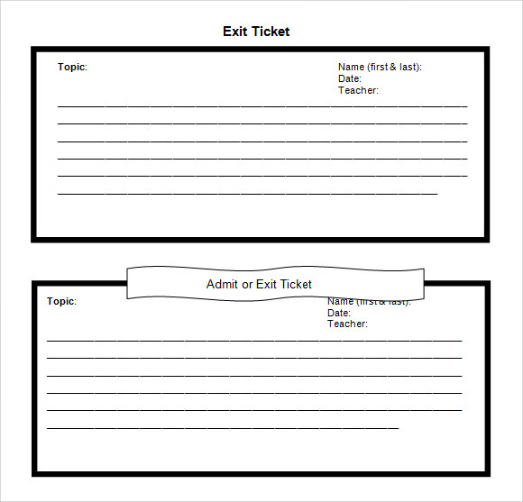 Exit Ticket Template 9 Download Free Documents in PDF Word – Ticket Template