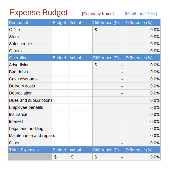 budget to actual template - 5 sample budget spreadsheets sample templates