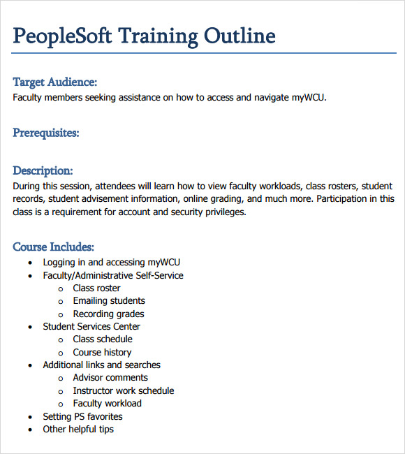 Training Outline Template   9  Download Free Documents in PDF Word mdfdymyN