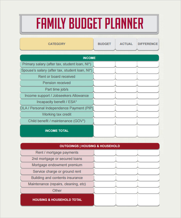 Budget Planner Template   Free Download For Pdf  Excel