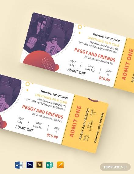 family movie ticket template
