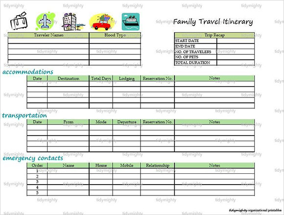 Vacation itinerary template 7 download free documents for Blank trip itinerary template