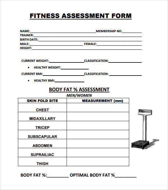 fitness assessment form template