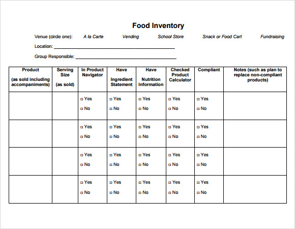 food inventory download
