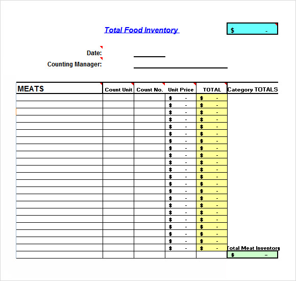 Restaurant Kitchen Inventory Template sample food inventory - 7+ document in pdf, excel