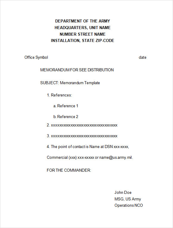 Sample Formal Memorandum 5 Documents in Word PDF – Army Memo Template