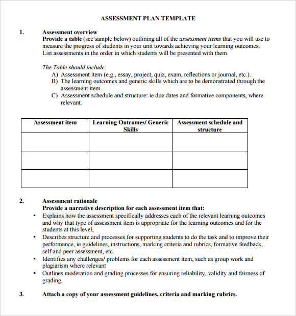 free assessment plan template