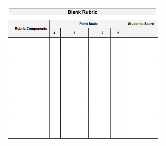 Sample Blank Rubric   Documents In Word Pdf