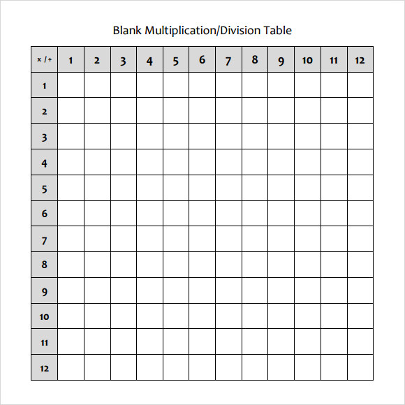 Sample Blank Table Template 7 Free Documents Download in Word PDF – Multiplication Table Worksheet Blank