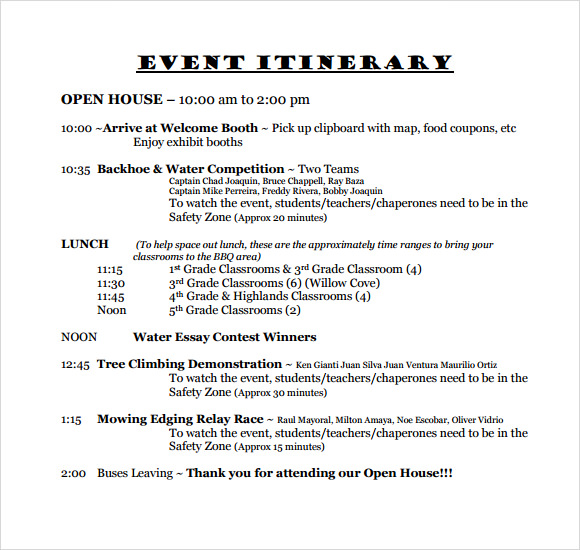 Sample Event Itinerary Template   Dcouments Download In Pdf