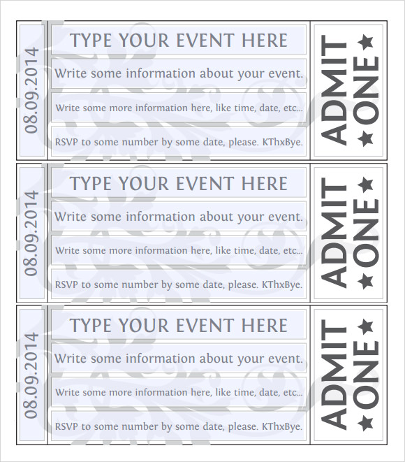 Event Ticket Template Word  Printable Blank Tickets