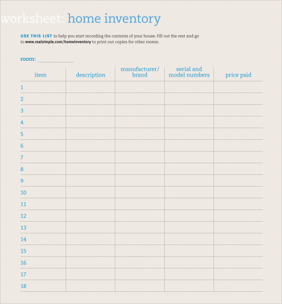 Sample Rental Inventory Template   Free Documents Download In Pdf