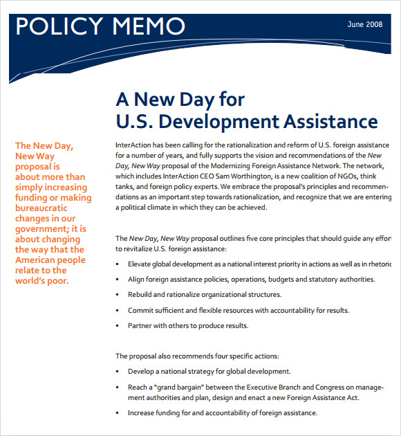 Sample Policy Memo - 9+ Documents In Pdf