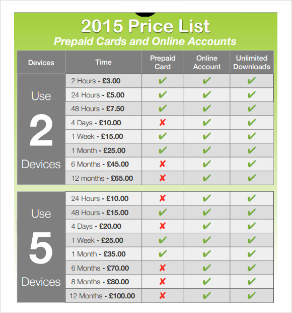 Price Sheet Template Free Price List Template Sample Price Sheet